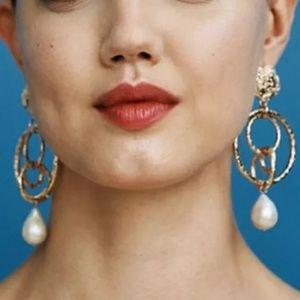 Beautiful Gold Dangle Pearl Earrings